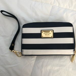 Navy and White stripped Michael Kors wristlet